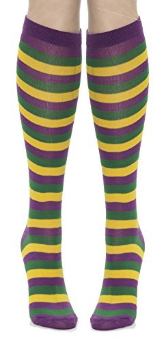 Mardi Gras Striped Socks (Purple/Green/Yellow) Adult Accessory (New Orleans Costume)