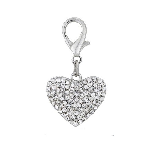 PetFavorites trade; Couture Designer Fancy Bling Rhinestone Heart Pet Cat Dog Necklace Collar Charm Pendant Jewelry (Crystal)