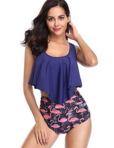 LOMON Women Swimsuit 2 Pieces Retro Flounce Crop Bikini Top with High Waisted Cut Out Bottom