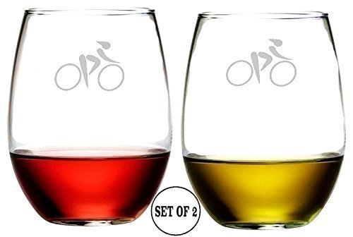 Bicycle Racer Stemless Wine Glasses | Etched Engraved | Perfect Fun Handmade Present for Everyone | Lead Free | Dishwasher Safe | Set of 2 | 4.25
