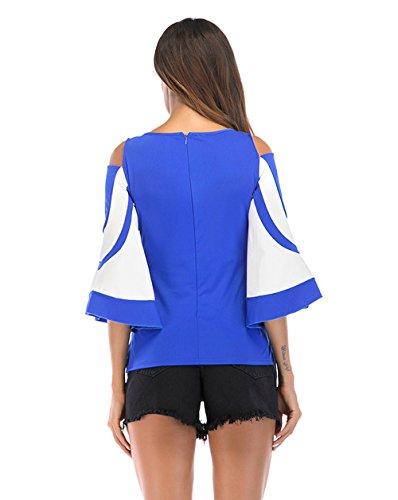 Sleeve Slim et Nu Bleu Flare Shirt Automne Epaule Rond T Printemps Tee Col Chemisiers Blouse Tops Casual Hauts Patchwork Mode JackenLOVE Femmes wFU0xq