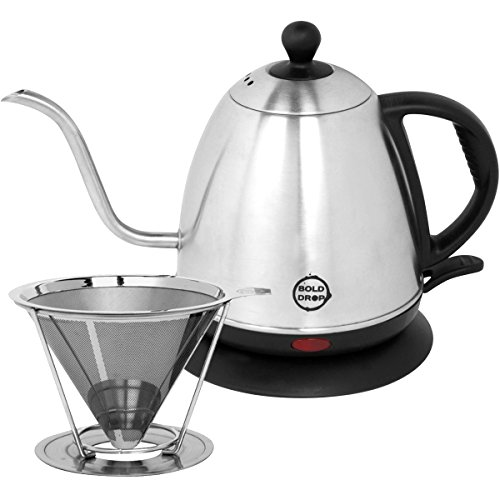 BoldDrop 1 Liter Electric Gooseneck Kettle (1L/34oz) with Stainless Steel Pour Over Coffee Filter (Brews 4 Cups) (Electric Pour Kettle compare prices)