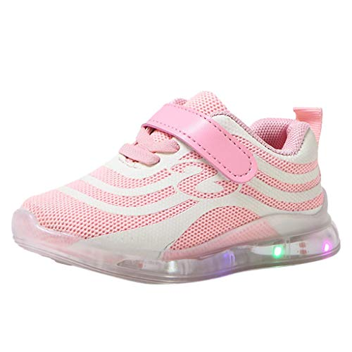 (Boys Girls LED Light Up Flashing Sneakers Reflective Mesh Breathable Strap Running Shoes for Toddler/Kids Pink )
