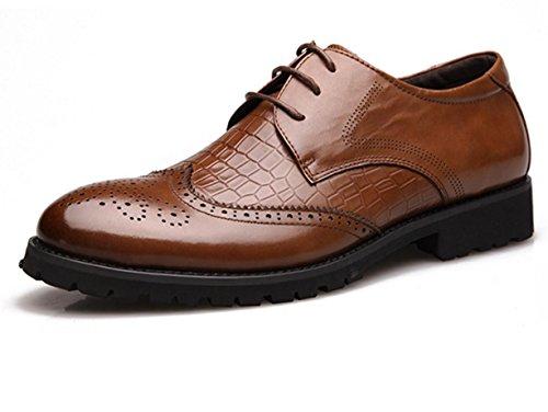 WZG zapatos de vestir de negocio de los nuevos hombres tallan los zapatos de cuero de cocodrilo Bullock zapatos zapatos de la boda de los hombres negros 9,5 Brown