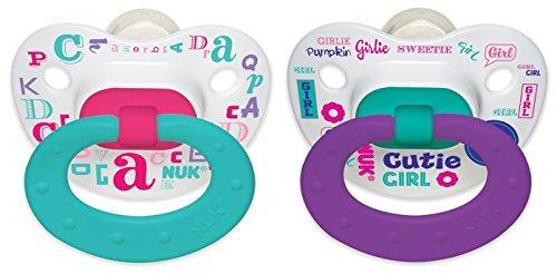 Nuk Pacifier (NUK Baby Talk Puller Pacifier, 0-6 Months, Aqua/Purple)