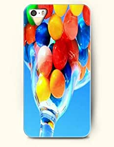 iPhone 5/5S Case, OOFIT Phone Cover Series for Apple iPhone 5 5S Case (DOESN'T FIT iPhone 5C)-- Colorful Balls In Transparent Glass -- Rainbow Color Series
