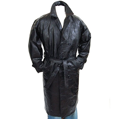 Genuine Leather Double Breasted Trench