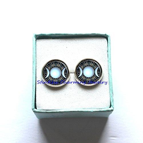 Moon Goddess Halloween Costume (Moon Goddess Earrings, Wiccan Jewelry, Wiccan Earrings, Triple Goddess Earrings, Wiccan Earrings)