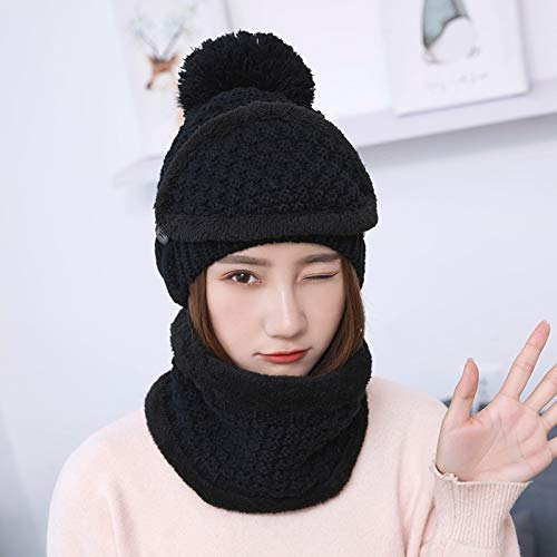 Women Winter Beanies Knitted Hat Thickened Woolen Cap with Warm Mask and Neck Scarf 3pcs//Set