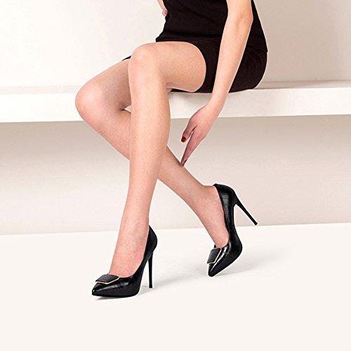 Bouche pour Mariage talons EU3 Dignified Shallow Noir Couleur Stiletto hauts Blanc Elegance taille Abricot NAN Buckle De Side Chaussures Et Talons Summer Noir femmes bouche Travail De Mariage Dîner 5pw7UY