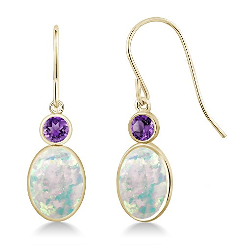 Gem Stone King 2.30 Ct Oval White Simulated Opal Purple Amethyst 14K Yellow Gold Earrings ()