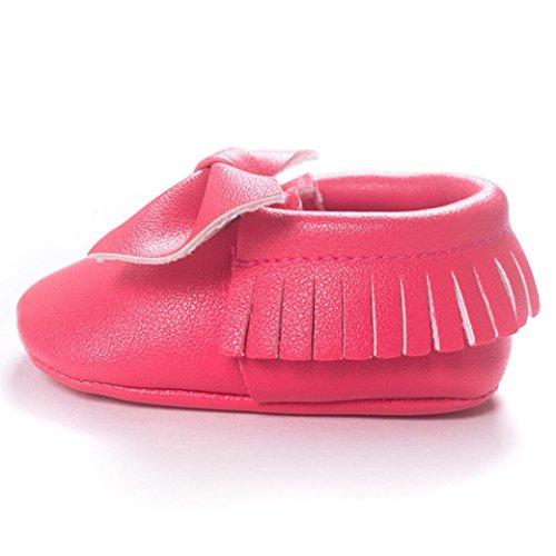 Voberry Baby Boys Girls Soft Soled Tassel Bowknots Crib Shoes PU Moccasins (0~6M, Hot Pink) by Voberry (Image #3)