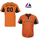 Majestic 2-Button Cool-Base San Francisco Giants 2-Color Black/Orange Blank or Custom Back (Name/#) MLB Officially Licensed Baseball Placket Jersey
