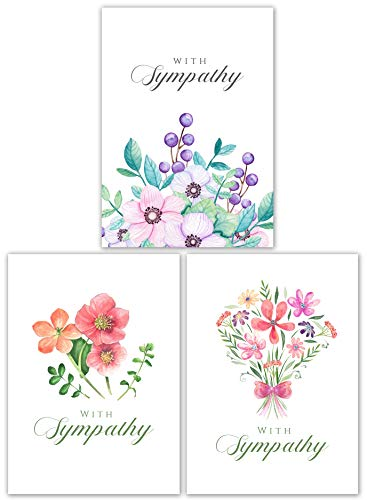 Sympathy Cards Assortment with Envelopes Set - 15 Cards - Three Designs - Blank Condolence Card Pack for Funeral and Bereavement Greetings. Sorry for Your Loss, and Thinking of You.