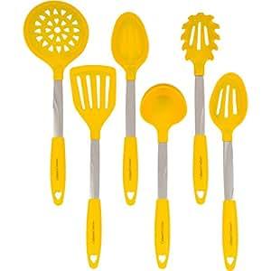 Amazon.com: Yellow Kitchen Utensil Set - Stainless Steel