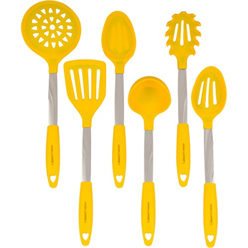 Kitchen Textiles (Yellow Kitchen Utensil Set - Stainless Steel & Silicone Heat Resistant Professional Cooking Tools - Spatula, Mixing & Slotted Spoon, Ladle, Pasta Fork Server, Drainer - Bonus Ebook!)