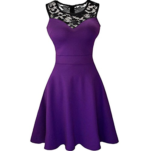 (Sexy Sheer Net O Neck Sleeveless Royal Blue A-line Vestido Black Lace Short Robe,Purple with Lace,L)