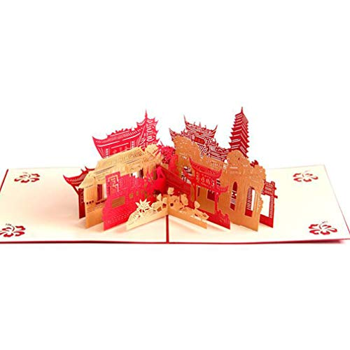 Dolland City Silhouette Pop-up Card Architecture Paper Cutting Laser Greeting Card Travel Commemorative Postcard ()