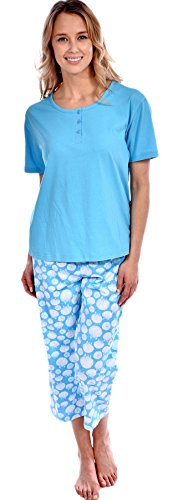 Pink Lady Women's Cotton Knit Short Sleeve Top with Seashell Capri 2 Piece Pajama Set Turquoise - Pant Seashell