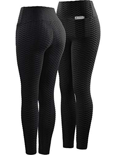 Neleus Women's 2 Pack Tummy Control High Waist Leggings Out Pocket,9036,Black/Grey,S,EU M by Neleus (Image #1)