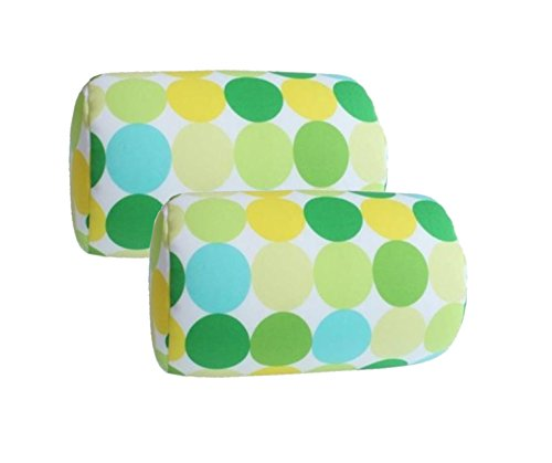 "Bookishbunny 2pcs Micro Bead Roll Pillow Cushion for Bed Back Neck Head Support, 12"" x 7"", Various Designs (Green Circle)"