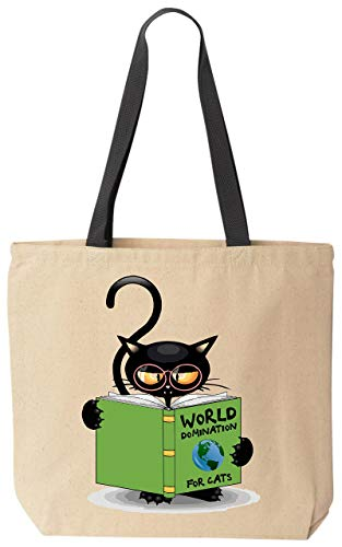 BeeGeeTees World Domination For Cats Funny Cat Lover Canvas Tote Bag for Grandma's Kitty Rescue