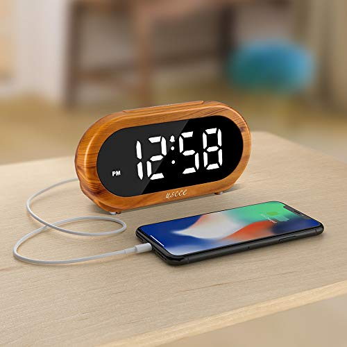 USCCE Home Small Digital Alarm Clock - 0-100% Dimmer, Easy to Set, Adjustable Alarm Volume with 5 Alarm Sounds, USB Charger, Snooze, 12/24Hr, Compact Clock for Bedrooms, Bedside, Desk(Wood Grain)