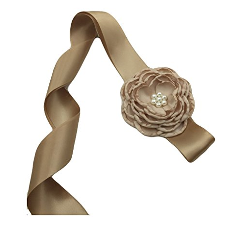 - Satin Belt Flower Girl Sash with Burned Layered Flower Wedding Bridesmaid Sash JB23 (2-Khaki)