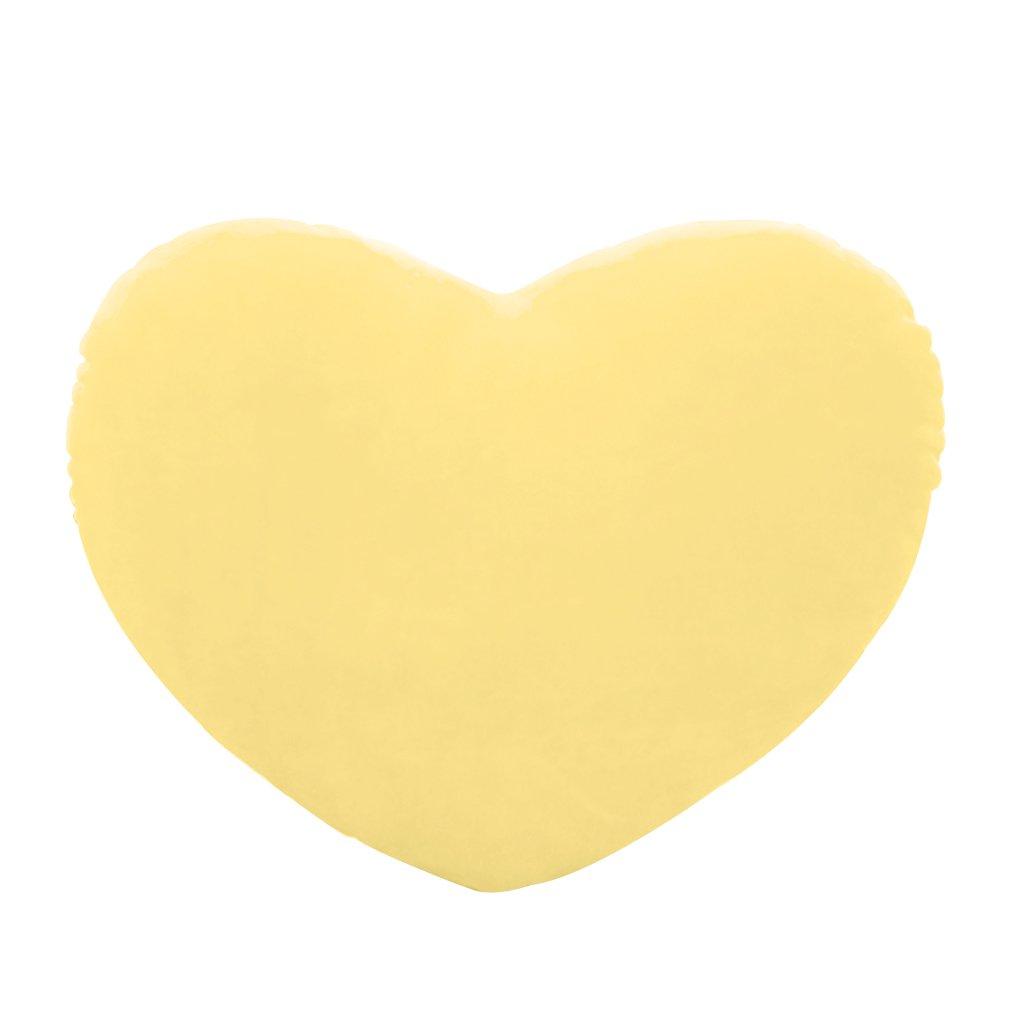 Bettal Plush Pillow Heart Shape Cushion Toy Gift for Friends/Children, 5.91' (Yellow)
