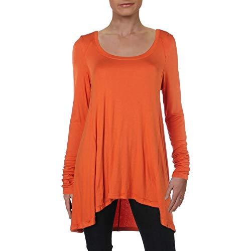 Free People Women's January Ribbed Long-Sleeve Tee (Orange, Small) (Clearance January Sales)