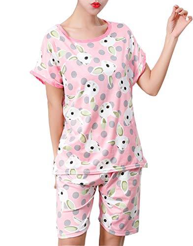 Hupohoi Big Girls Lovely Bunny Cute Sleepwear Summer Rabbits Loungewear Pajamas Pink ()