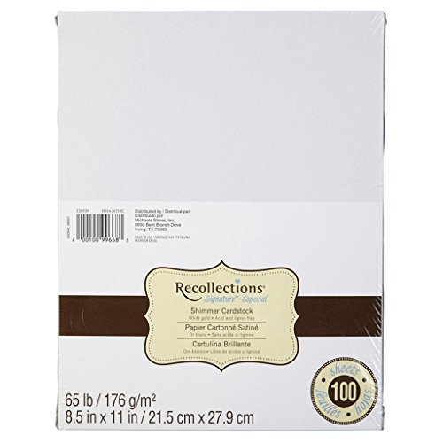 Recollections Shimmer White Gold Cardstock Paper, 8.5'' X 11'' - 100 Sheets, Metallic by Recollections