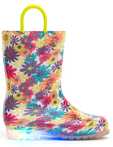 MOFEVER Kids Rain Boots Toddler Girls Light Up Printed Waterproof Shoes Lightweight Cute Colorful Flower with Easy-On Handles and Insole (Size ()