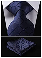 HISDERN Plaid Tie Handkerchief Woven Classic Men's Necktie & Pocket Square Set