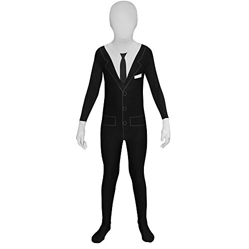 [Slender Man Kids Morphsuit Urban Legend Costume  - Large 4'-4'6 / 10-12 Years] (Slender Man Skin Suit)