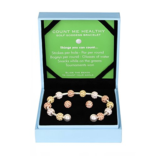 - Golf Goddess Stroke/Score Counter Bracelet Gift Set - Tri Color Golf Ball Bead with Rose Gold Golf Ball Earrings