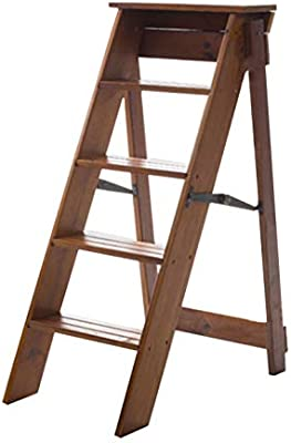 Plegables pasos de escalera Silla móvil multifunción Escalera de escalada para interiores Taburetes de 5 pasos, Escalera de mano plegable de madera maciza, Blanco/Negro/Marrón: Amazon.es: Hogar