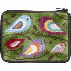 - Stitch and Zip Coin Credit Card Case Needlepoint Kit  SZ199 Birds of Color