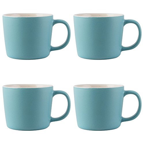 - La Cafetière Barcelona Ceramic Espresso Cups, 100 ml - Retro Blue (Set of 4)
