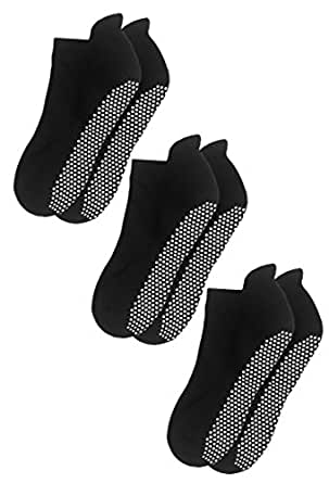 Deluxe Anti Slip Non Skid Barre Yoga Pilates Hospital Socks with grips for Adults Men Women (Small, 3-pair/black)