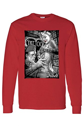 Unisex Sexy Marilyn Inked by Franky Tattoo Long Sleeve T-Shirt RED (Medium)