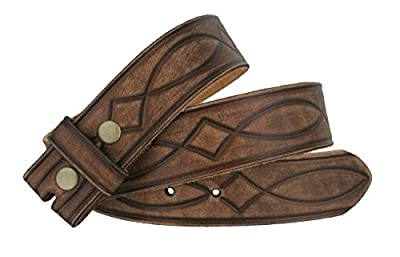 "Fullerton 382000 Genuine Full Grain Leather Tooled Belt Strap 1-1/2"" (38mm)"