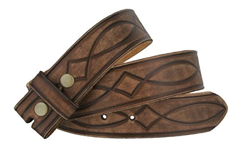 Leather Interchangeable Buckle - Fullerton 382000 Genuine Full Grain Leather Tooled Belt Strap 1-1/2