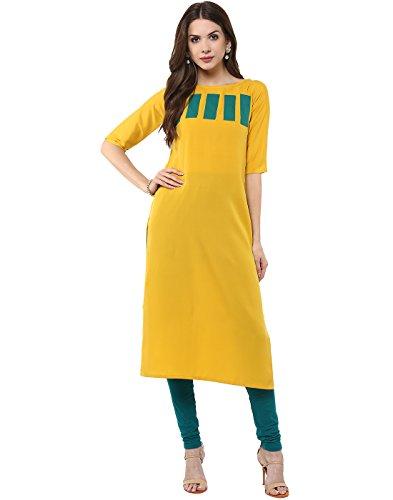 Janasya-Womens-Yellow-Casual-Crepe-Kurti