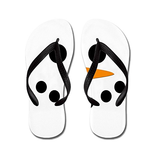 Cafepress Sneeuwpop Gezicht - Flip Flops, Grappige String Sandalen, Strand Sandalen Zwart