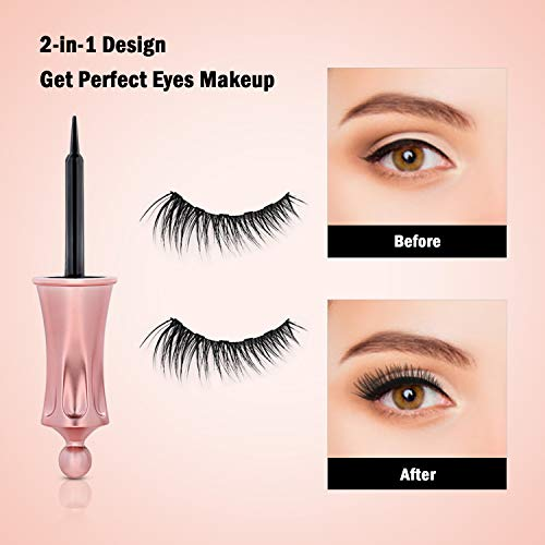 Magnetic Liquid Eyeliner Kit, Fixget Black Eyeliner Pencil with 3D Reusable Magnetic Eyelashes and Tweezers, Perfect Beauty Makeup Using for Natural Charming Look