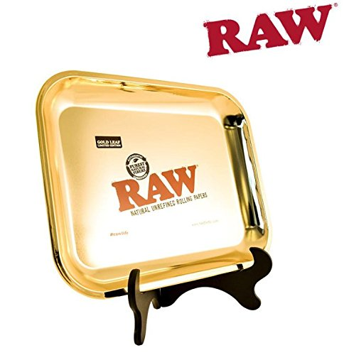 Raw Rolling Paper Limited Edition Large Gold Tray - Plus a TSC Sticker by Raw Threads