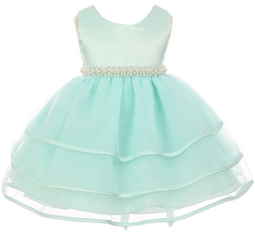 BluNight Collection Satin Organza Ruffle Tiers Beaded Waist Infant Baby Princess Flower Girl Dress (BC11B3) Mint M