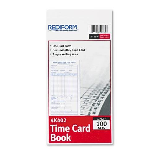 Rediform Time Card - REDIFORM 4K402 Employee Time Card, Semi-Monthly, 4-1/4 x 8, 100/Pad