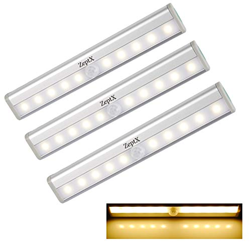 ZeptX Motion Sensor Closet Lights 10 Led Battery Operated Portable Wireless Night Lights Under Cabinet Stick on Indoor Stairs/Step/Kitchen with Magnetic Strip Warm White (3 Pack)